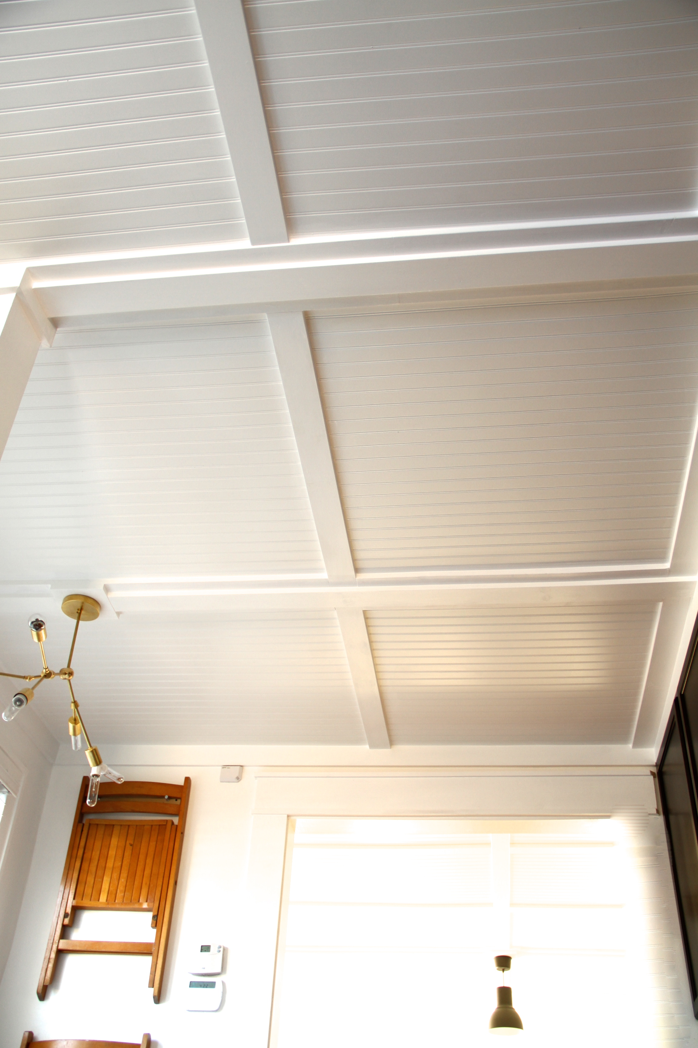 Apartment therapy beadboard ceiling follow up lifestyle How to disguise wood paneling